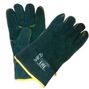 Перчатки зеленые цельноспилковые Изумруд